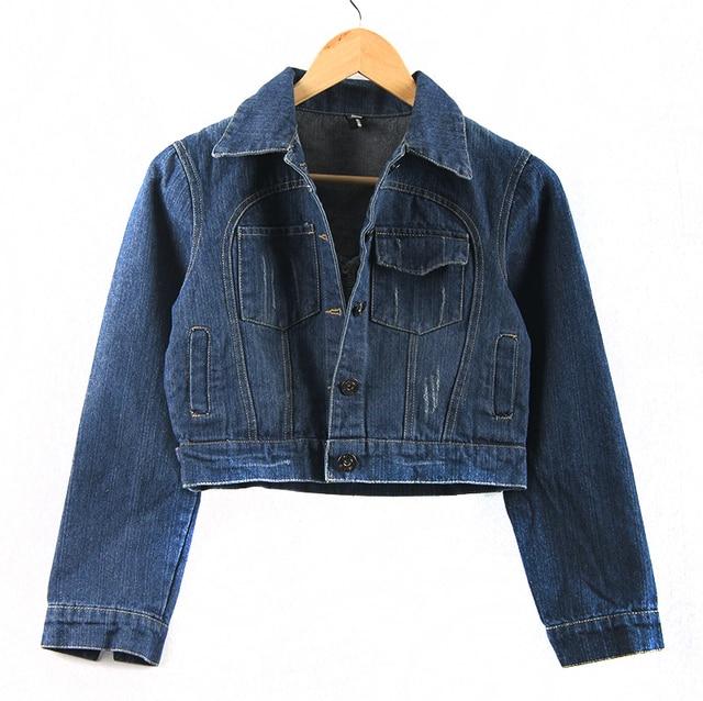 5f502adc8abb9 La muchacha del resorte nueva bolsillo de mezclilla desgastados prendas de  vestir exteriores para mujer da