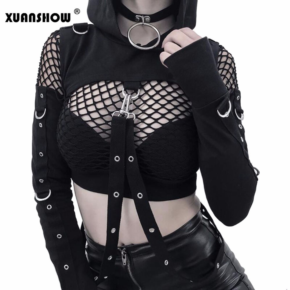 XUANSHOW Female Hoodies Halloween Cotton Gothic Streetwear Personality Hollow Black Off Shoulder Long Sleeve Women Crop Top 2018