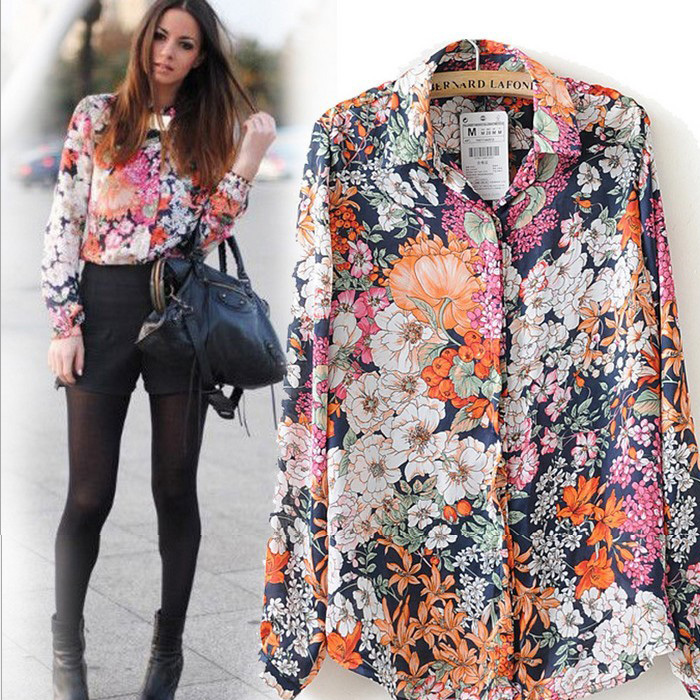 New Western Style Fashion Brand Women Lady Retro Flower Print Vintage Long Sleeve Shirt High
