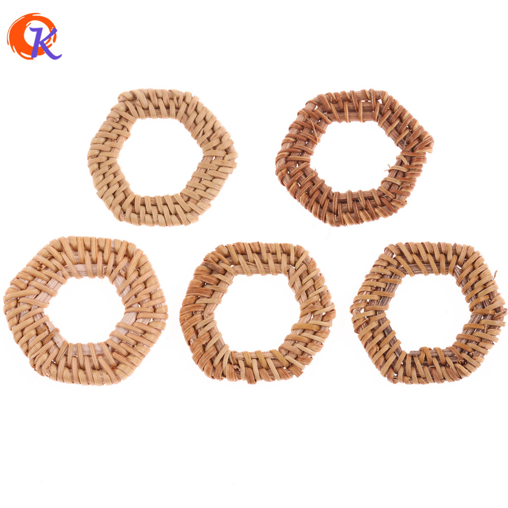 Cordial Design 20Pcs/Bag 39MM Jewelry Findings/Hand Made/DIY/Rattan Charm/Hollow Hexagon Shapes/Embellishments/Earring Making