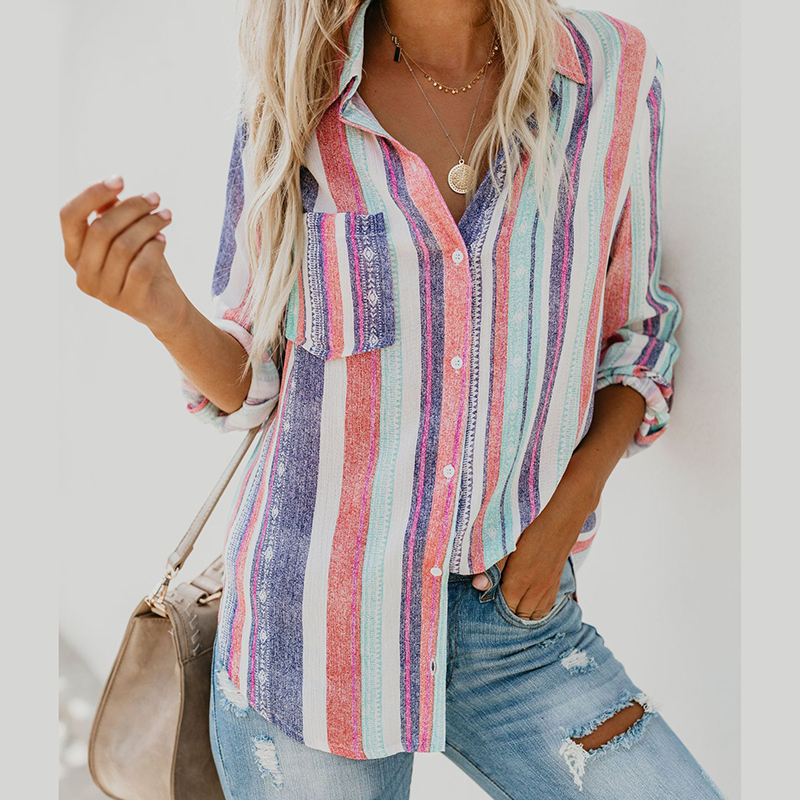 Women Blouses 2018 Autumn Casual Long Sleeve Blouse Women Turn Down Collar Striped Shirt Office Ladies Tops Blusas Mujer Pockets