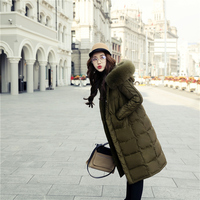 2016 winter korean shoppe customised women warm coat fashion big fur collar long down jacket casual girl tops letters print 073