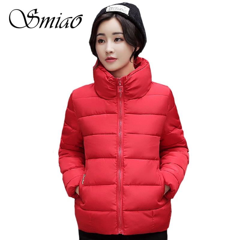Smiao 2017 Brand Stand Collar Short Winter Women Coat Cotton Padded Thick Plus Size Fashion Female Parkas Warm Jacket M-3XL цены онлайн