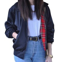 Autumn Winter Fashion Coats 2016 Women Casual Outerwear Long Sleeve Tartan Lined Zipper Pockets Jacket Coat Plus Size