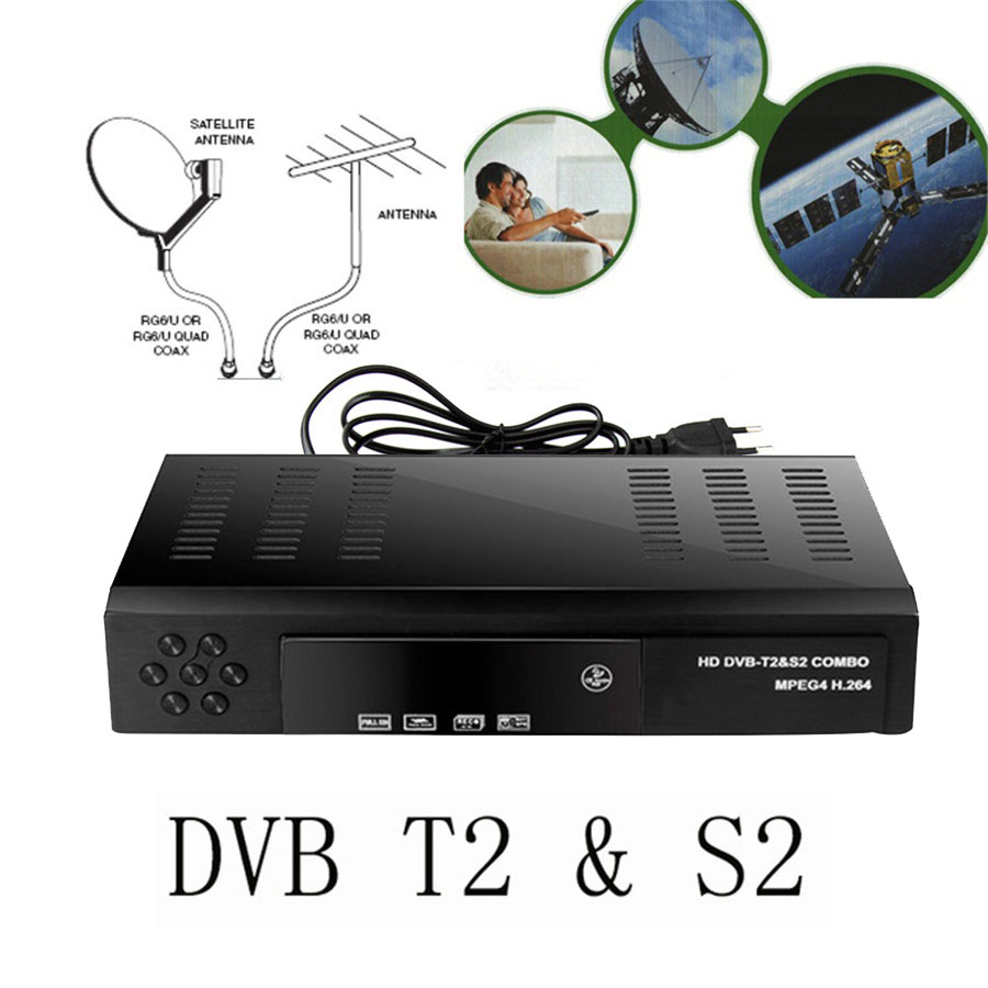 2017 Satellite receiver HD Digital DVB T2+S2 TV Tuner Receivable MPEG4 DVB-T2 TV Receiver T2 Tuner Free Shipping Support bisskey
