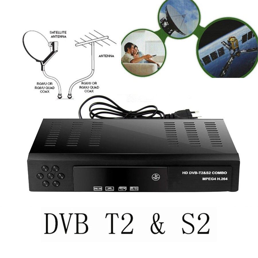 2018 receptor de satélite Digital HD DVB T2 + S2 sintonizador de TV por cobrar MPEG4 DVB-T2 TV T2 Tuner envío gratis apoyo bisskey