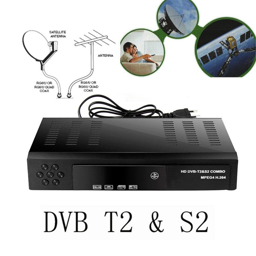 2018 ricevitore Satellitare HD Digital DVB T2 + S2 Sintonizzatore TV Ricevibili MPEG4 DVB-T2 Ricevitore TV T2 Tuner Spedizione Gratuita supporto bisskey