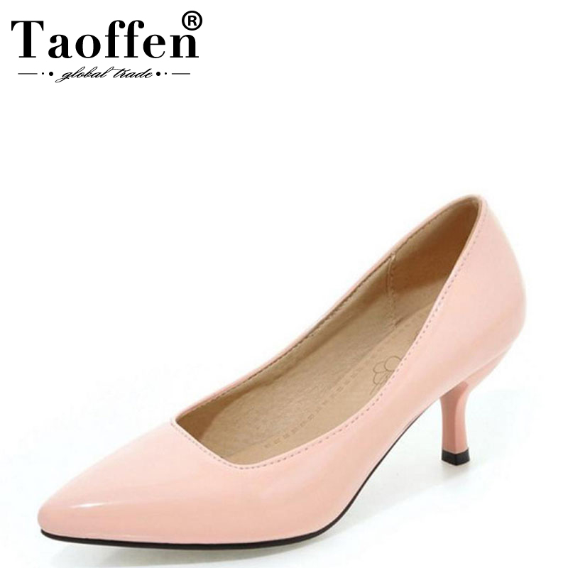 TAOFFEN Plus Size 32-48 Fashion 8 Colors Women Square High Heel Shoes Ladies Sexy Pointed Toe Women HeelsPumps Work Shoes Women