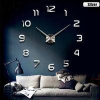 3d Big Size Home Decor Quartz Diy Wall Clock Living Room Metal Acrylic Mirror Oversize Wall