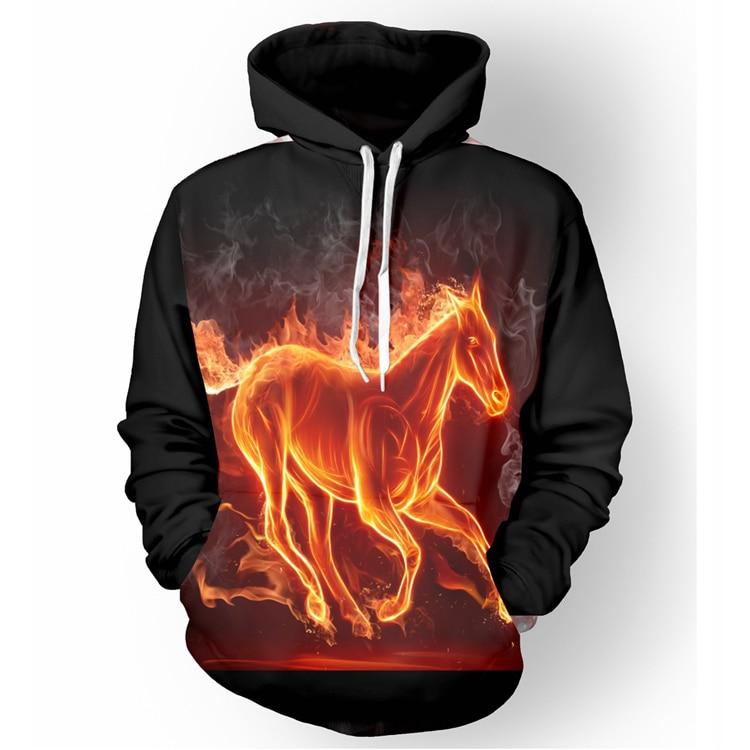 2017 new fashion Cool sweatshirt Hoodies Men women 3D print Yellow Flame Horse hot Style Streetwear Long sleeve clothes