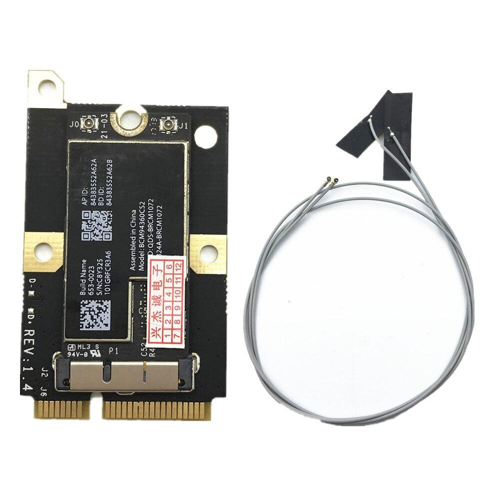 802 11AC BCM94360CS2 867 Mbps aeropuerto WiFi tarjeta WLAN Bluetooth 4,0 y  MINI adaptador PCI-E y antenas