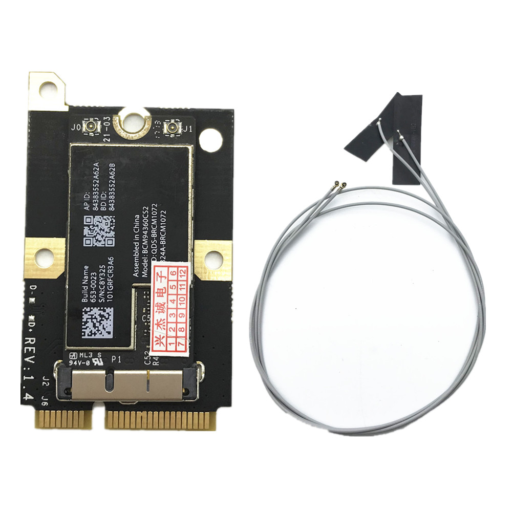 802.11AC BCM94360CS2 867Mbps Airport WiFi WLAN Card Bluetooth 4.0& MINI PCI-E Adapter&Antennas