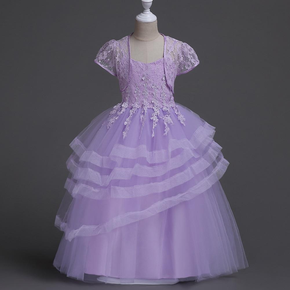 Light Blue Lavender Pink Kids Short Cape Jacket Layered Long Dress Elegant Evening Ball Gown Wedding Dresses Formal Children lole шорты lsw0898 lively short xs evening blue