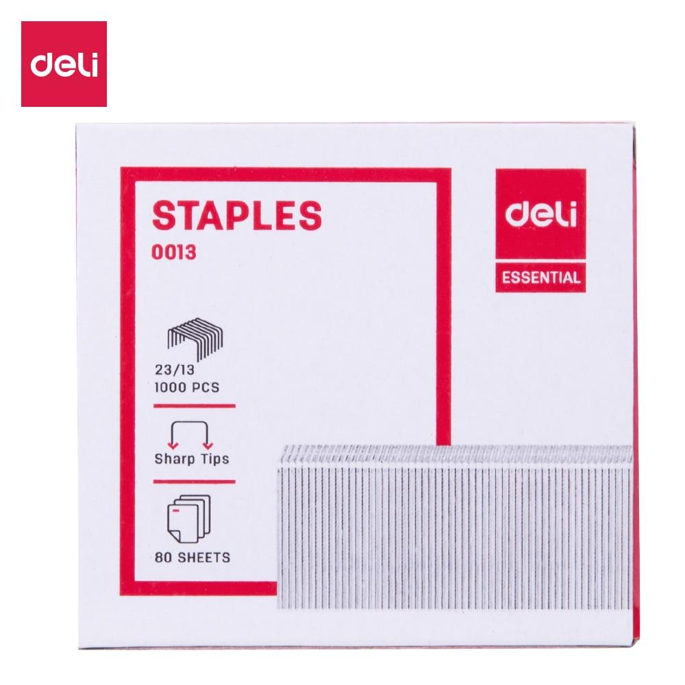 Deli E 0013 Staples 23/13 Zinc Plated Wire Iron Material 1000 Pcs Per Box