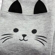 Стретч кот малыша девочка теплые леггинсы милый печати брюки