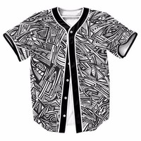Abstract Paintings Eyes Cool Mens Buttons Homme Baseball Jersey 3D Shirt Sport Streetwear Tees Shirts Hip