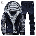 Plus Size XXXXL Hoodies+Long Pants Fleece Sweat Suits Men 2016 Winter Sportwear Warm Zipper Suits For Men Fashion Tracksuit Set