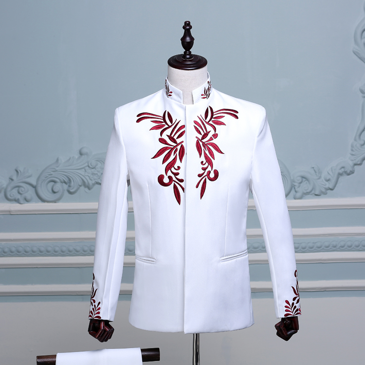 2018 Chinese style formal dress embroidered chinese tunic suit male costume set stand collar performance The singer's clothing