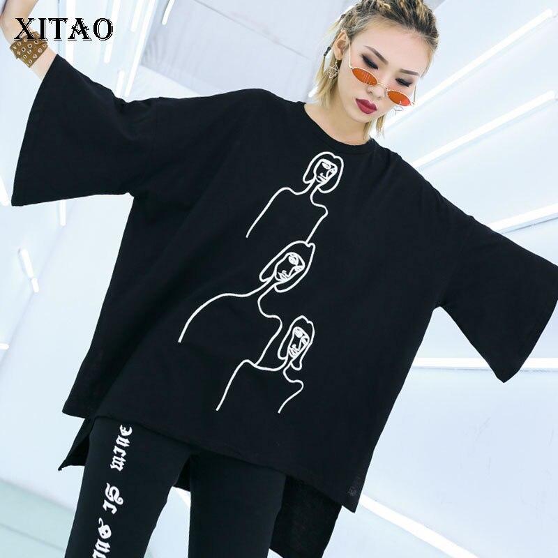 Nett 2019 Frühling Sommer Korea Mode Oansatz Volle Hülse Lange Stickerei Charakter Muster Einfarbig Casual T-shirt Wbb2094 xitao