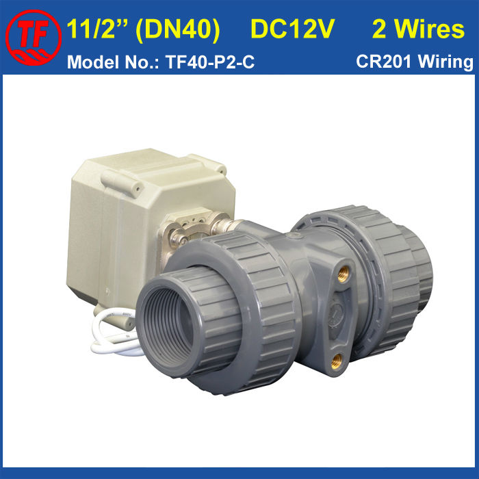 UPVC DN40 Electric Water Valve TF40-P2-C DC12V 2 Wires 11/2'' Motorized Ball Valve 10NM On/Off 15 Sec Metal Gear CE, IP67 stainless steel 2 electric ball valve dc12v 5 wires dn50 actuator valve 2 way torque 10nm on off 15 sec metal gear