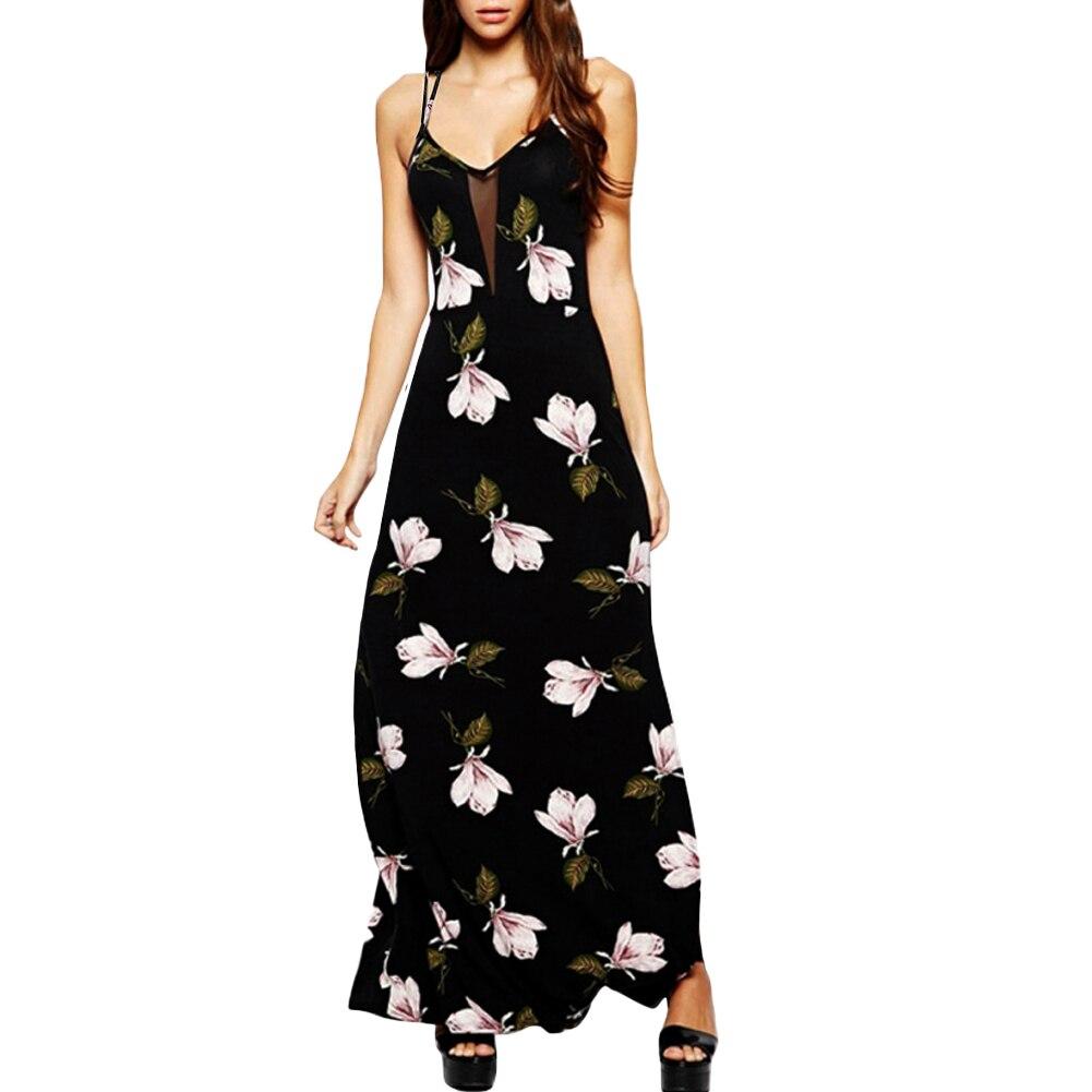 989d09c1465a Anself Maxi Vestido Plus Size 2019 Mulheres Sexy Floral Impressão Vestido  De Renda Tiras Sem Mangas