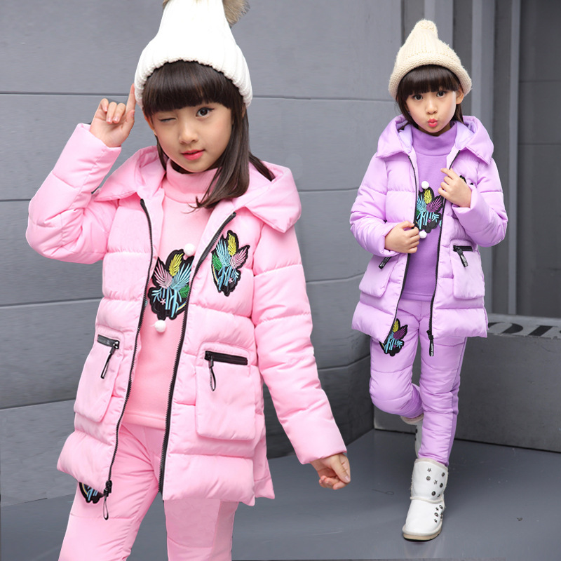 Clothing set for 4 5 6 7 8 9 10 11 12 13 14 years girl winter new thick warm cute cotton padded tops + pants + vest three sets