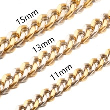 Handmade Stainless Steel Silver Gold Cuban Curb Link Chain Men's Women's Daily Jewelry Necklace Or Bracelet 11/13/15/17mm 7-40
