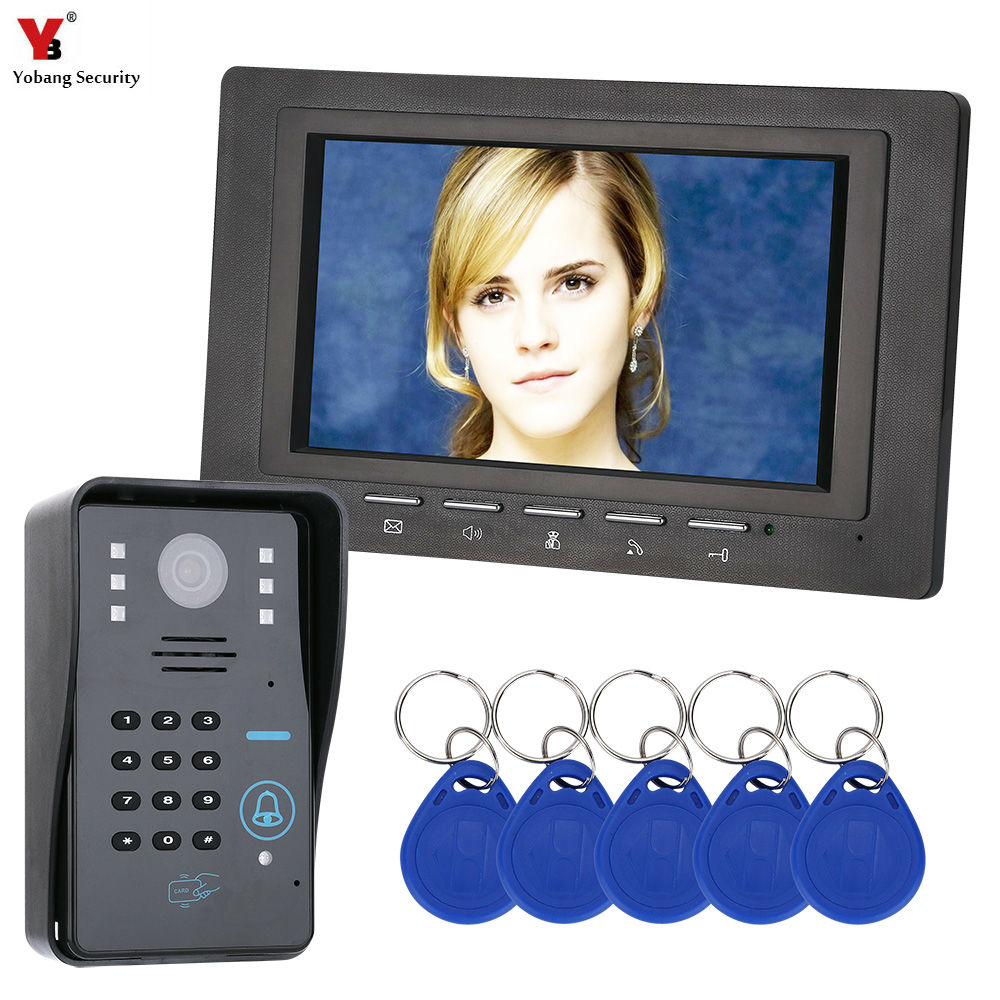Yobang Security 7'' HD Doorbell Camera Video Intercom Door Phone System Security Camera Intercom RIFD Door Bell With Monitor homefong 7 tft lcd hd door bell with camera home security monitor wire video door phone doorbell intercom system 1200 tvl