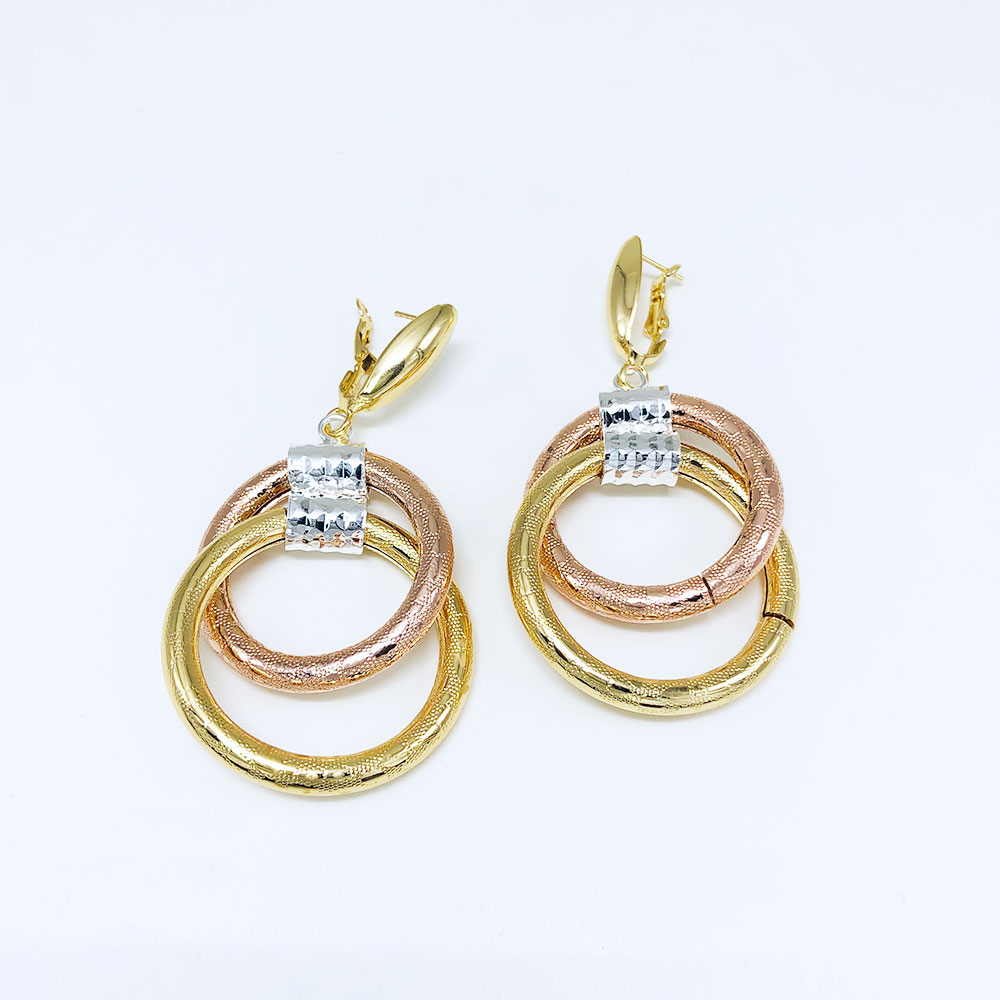 Viennois Gold Color Round Pendent Necklace Double Round Drop Earrings Jewelry Sets for Women Wedding Bridal in Jewelry Sets from Jewelry Accessories