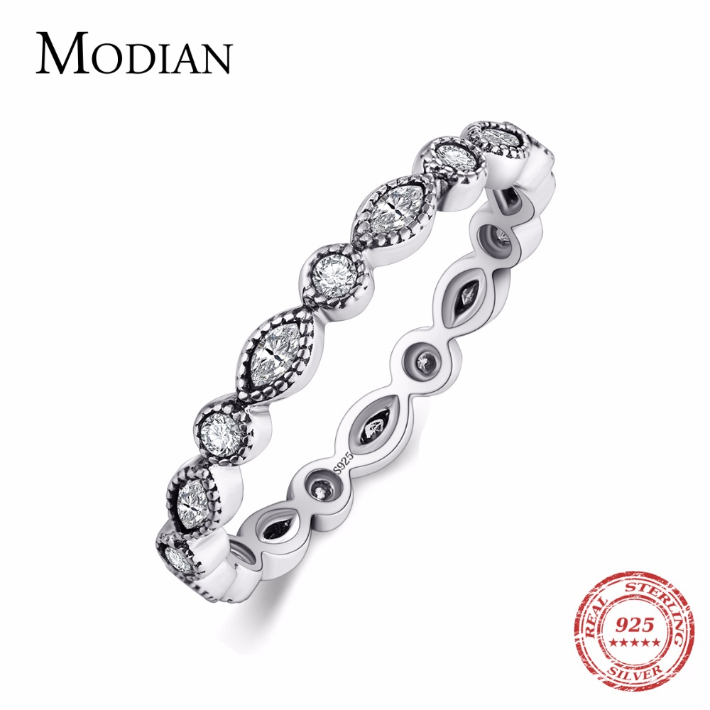 Modian Authentic 925 Sterling silver Sparkling Rings for women CZ Jewelry Finger Ring engagement rings Bague fashion Accessories