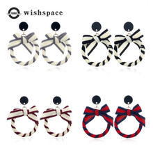 New fashion ribbon bow geometric circular character of female temperament earrings jewelry