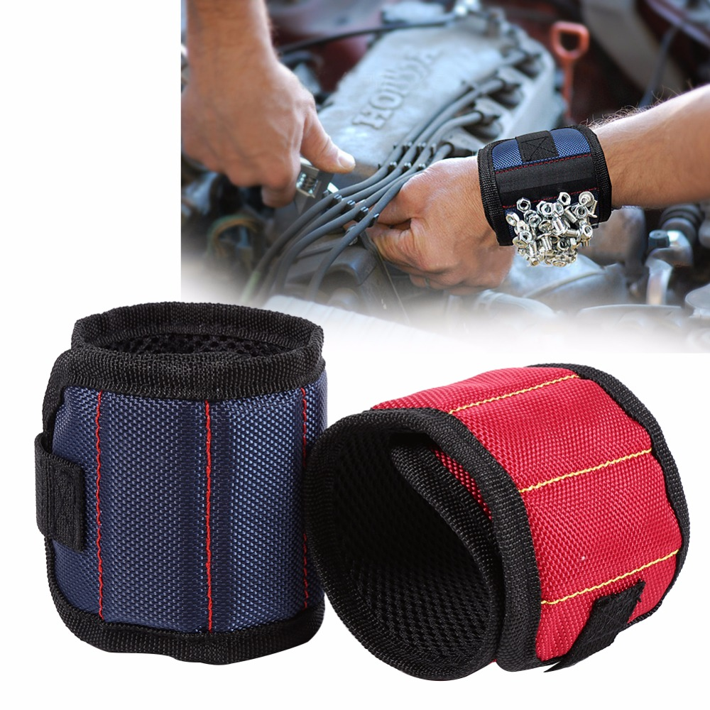 Magnetic Wristband Pocket Toolkit Belt Pouch Bag Strong Magnets Holding Screws Nails Drill Bits Holder Tool Bag For Auto Repair(China)