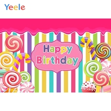 Yeele Candy Lollipop Ice Cream Colorful Stripe Baby Photography Backgrounds Customized Photographic Backdrops for Photo Studio