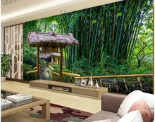 цена на Custom 3D Mural Wallpaper Green Bamboo Pavilion TV Background 3D Mural Wall Paper Home Decor Living Room Wall Covering