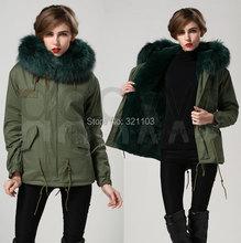 womens jackets 2016 emerald green Mrs fur Coats Fur Hooded Slim Fit Parka Jacket