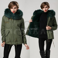 womens jackets 2016 emerald green Mrs fur Coats Fur Hooded Slim Fit Parka Jacket