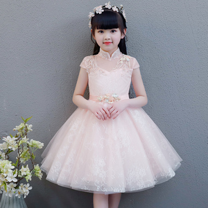 Image 2 - 2019 Summer Elegant Sweet Pink Children Girls Luxury Embroidery Lace Birthday Wedding Party Princess Ball Gown Dress Clothes