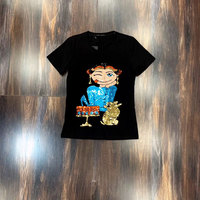 Women's cotton cartoon character pattern sequins decorated with fashionable short sleeve slim T shirt