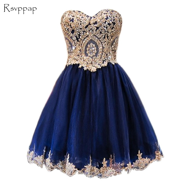sparkly a line sweet 16 dresses lace short navy blue homecoming