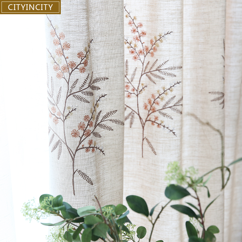 CITYINCITY Faux Linen Curtain Modern Decor Embroidered Curtains  For Bedroom Home Drape For Living Room Window Customized