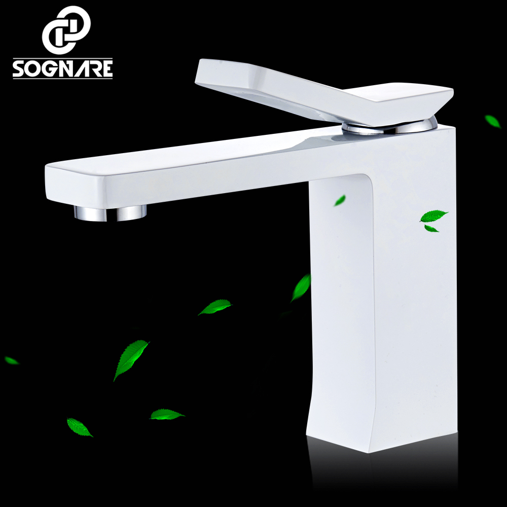 SOGNARE Waterfall Bathroom Faucet Brass Made White Faucet Sink Mixer Tap Vanity Faucet Single Handle Hot and Cold Basin Faucets wholesale and retail chrome brass bathroom basin faucet single handle hole vanity sink mixer tap solid brass hot and cold mixer
