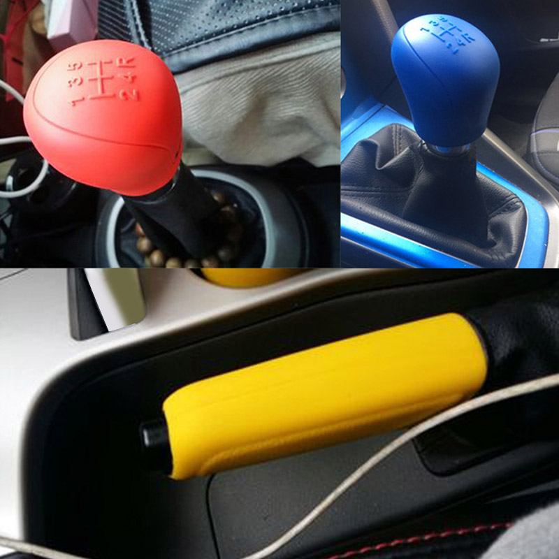 2 Pcs Universal Car Hand Brake Cover Gear Head Shift Knob Protector Cover