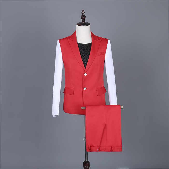 2019 赤白のステッチブレザーセット春夏メンズファッションスリムスーツ歌手チーム 3 スタイルスーツバーパフォーマンス衣装