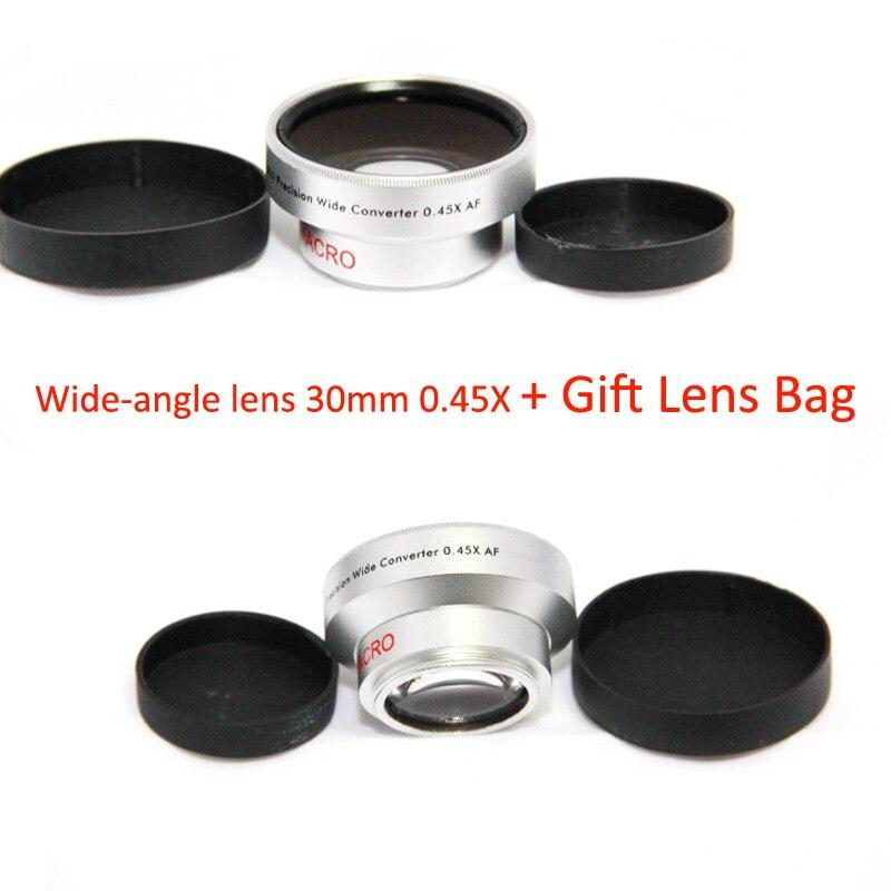 BON objectif de caméscope de caméra de haute résolution de création 30mm 0.45x grand Angle + objectif de Conversion Macro 30 0.45 couleur argent