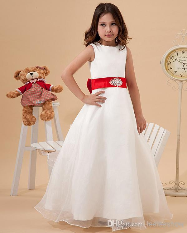 faa8de8c451 Simple Pretty A line White Organza Flower Girl Dresses with red sash-in Flower  Girl Dresses from Weddings   Events on Aliexpress.com