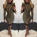 Fashion autumn dress 2016 new women Bronzing striped long sleeve o-neck slim hip sexy party club wear bandage dress