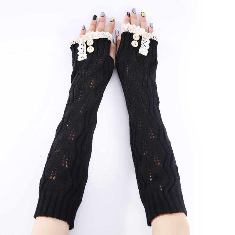 Newly 1pair Fashion Ladies Winter Arm Warmer Fingerless Gloves Lace Button Knitted Long Warm Gloves Mittens For Women  DOD886