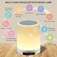 ARYAGO New Multifunction Portable MINI Bluetooth Speaker Music Lighting Table Lamp Smart Touch Colorful Bedroom Alarm