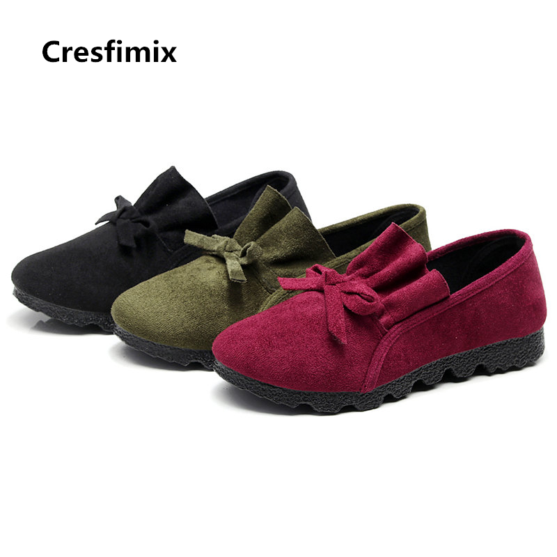 Cresfimix women cute black flat shoes lady plus size bow tie round toe flats sapatos femininos female comfortable flock shoes casual shoes women office ladies shoes lady cute bow tie pointed toe flats female cute spring