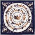 100 cm * 100 cm 100% Sarja De Seda Euro Marca Royal Carruagem de Cavalos Domésticos Viagem Mulheres Praça Scarf Primavera Femal cachecóis Xale 3122